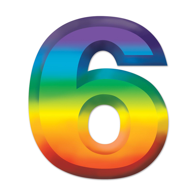 24 Units Of Multi Color Plastic 3 D Number 6
