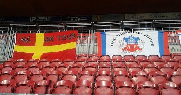 Helsingborgs Äldres flaggor på en match.  Foto: Helsingborgs Äldre