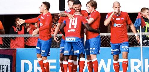 Spelarna firar efter Atakoras 1-0-mål Foto: Bildbyrån