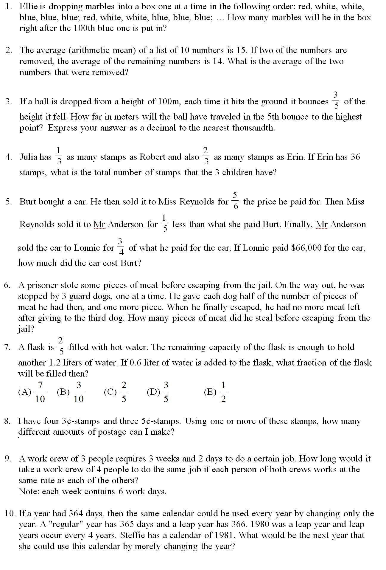Math Problems Algebra 1