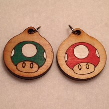 Mario Mushroom Group Wood Necklace