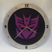 Decepticon Transformers black background, 14 inch Build-A-Clock