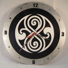 "14"" Wood Gallifreyan Doctor Who Black Background Build-A-Clock"