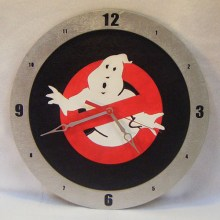 "14"" Wood Ghostbusters Symbol Black Background Build-A-Clock"