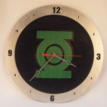 "14"" Wood Green Lantern Black Background Build-A-Clock"
