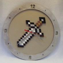 Minecraft Sword Beige Background Clock