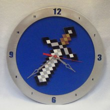 Minecraft Sword blue background, 14 inch Build-A-Clock