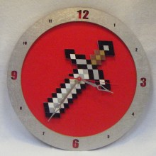 Minecraft Sword red background, 14 inch Build-A-Clock