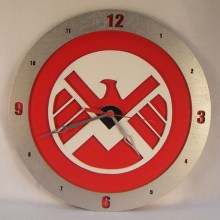 "14"" Wood S.H.I.E.L.D. Symbol Red Background Build-A-Clock"