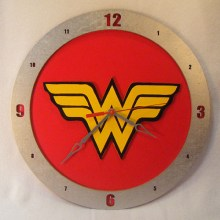 Wonder Woman red background, 14 inch Build-A-Clock
