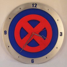 "14"" Wood X-Men Blue Background Build-A-Clock"