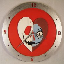 Jack and Sally Heart Red Background Clock