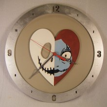 Jack and Sally Heart Beige Background Clock