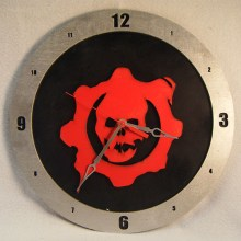 "14"" Wood Gears of War Symbol Black Background Build-A-Clock"