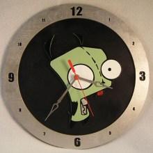 "14"" Wood Gir Invader Zim Black Background Build-A-Clock"