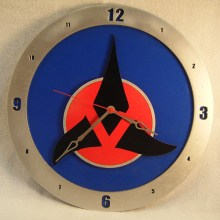 "14"" Wood Klingon Symbol Blue Background Build-A-Clock"