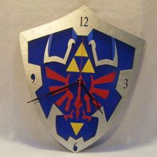 "Premade 14"" Wood Hylian Shield Legend of Zelda Wall Clock"