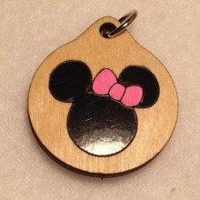 Minnie Mouse Wood Necklace and Pendant