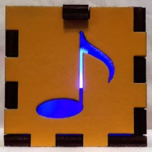 yellow music note blue lit