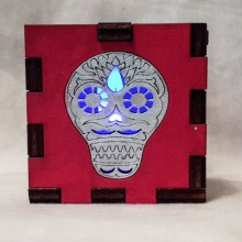 Sugar Skull red lit blue
