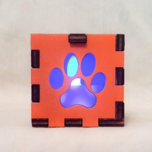 Paw Print Orange lit blue