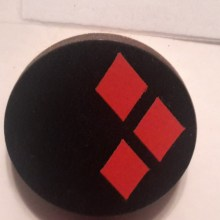 HarleyQuinn Red on Black Cuff Disk