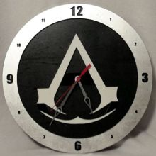 "14"" Wood Assassin's Creed Symbol Black Background Build-A-Clock"