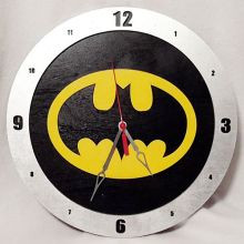 "14"" Wood Batman Symbol Black Background Build-A-Clock"