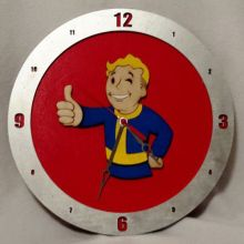 "14"" Wood Fallout Vault Boy Red Background Build-A-Clock"