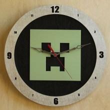 Minecraft Creeper black background, 14 inch Build-A-Clock
