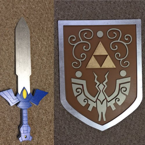 Kids Costume Size Set of Master Sword and Wind Waker Shield  w/ optional backpack straps