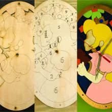 Princess Peach, Mario Bros, Stained Glass Clock, Paint Your Own