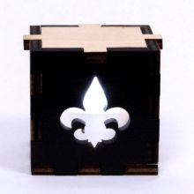 Fleur de Lys Symbol Wood Lit White LED Tea Light