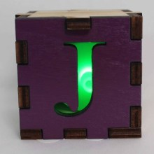 Joker Symbol Wood Lit Green LED Tea Light