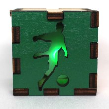 Soccer Sports Wood Lit Green LED Tea Light