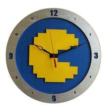 8Bit Pacman Clock on Blue Background