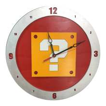 Mario Question Clock on Red Background