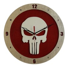 Punisher Clock on Red background