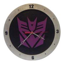 Decepticon Transformer Clock on Black Background