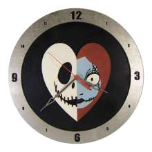 Jack and Sally Heart Clock on Black Background