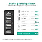 RAVPower 6-Port USB Lade Adapter Ladegeraet mit iSmart Technologie fuer Apple Samsung Smartphones und Tablets, 50W 5V /10.2A schwarz