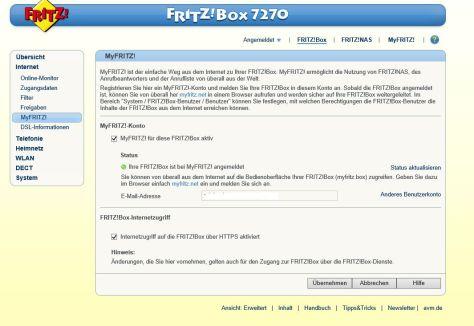 myFritz Account einrichten
