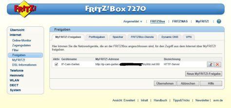 myFritz Freigabe IP Cam