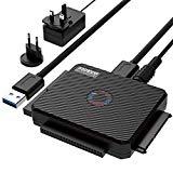 USB IDE oder SATA Adapter, FIDECO USB 3.0 Festplattenadapter Universal für 2.5/3.5 Zoll SATA HDD/SSD & IDE HDD, inklusive 12V 2A Netzteil und USB 3.0 Kabel