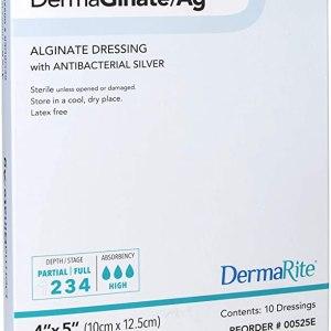 "DermaGinate AG Alginate with Silver 4""x5"" 10ea/bx"