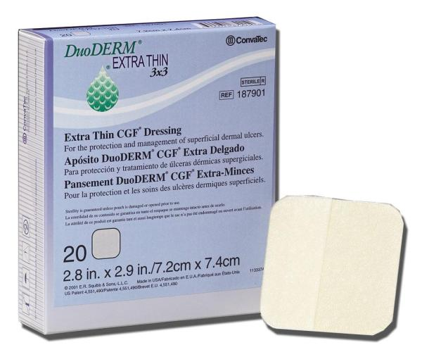 """DuoDERM Extra Thin Dressing, Controlled Gel Formula, Square, 4"""" x 4"""" -10/BOX"""