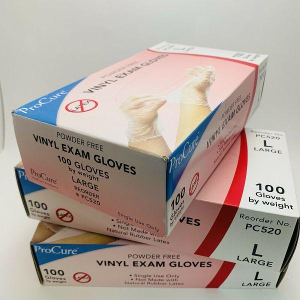 Gloves Vinyl Exam PF Large 100ea/bx 10bx/cs
