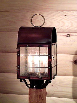 solid copper colonial post mount light