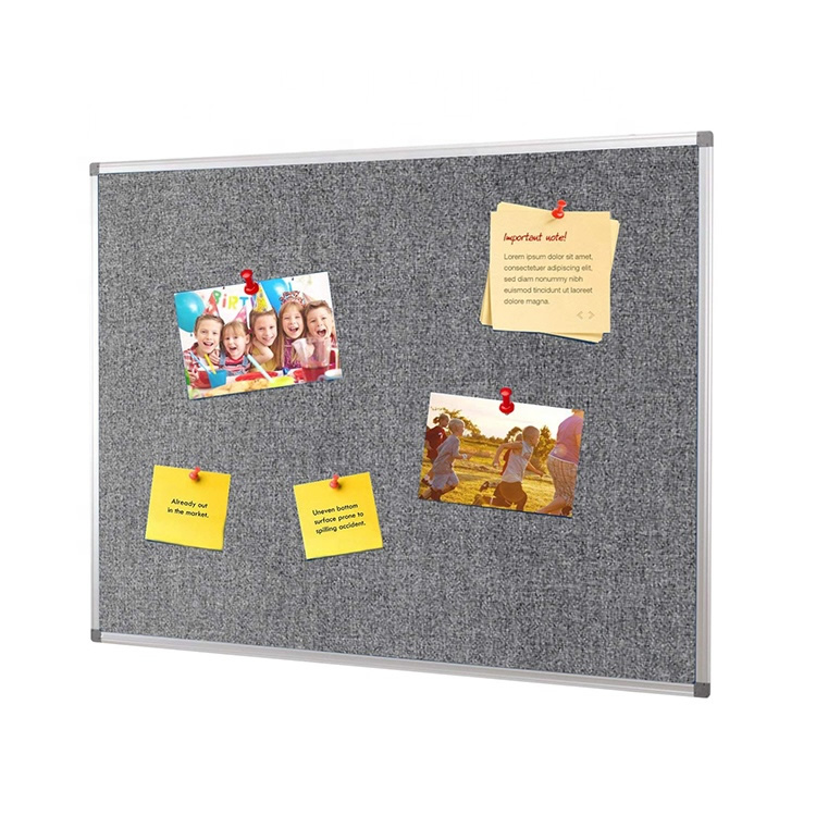 Wall Mounted Aluminium Frame Grey Felt Fabric Pin Board