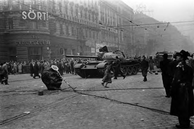 Image result for pictures Russian tanks Hungary 1956